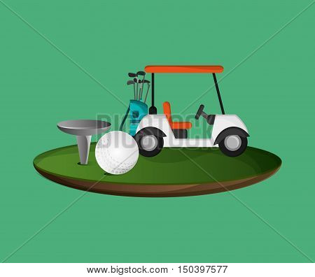 golf ball with cart golfing related icons image vector illustration design
