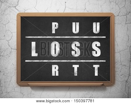 Finance concept: Painted White word Loss in solving Crossword Puzzle on School board background, 3D Rendering
