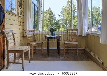 TROLDHAUGEN, NORWAY - JULY 3, 2016: This is porch of holiday home of composer Edvard Grieg.