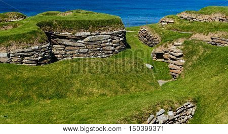 ORKNEY ISLANDS, SCOTLAND--AUGUST 17, 2016--Skara Brae is a Neolithic settlement located in the Orkney Islands, Scotland. Skara Brae is older than Stonehenge and the Great Pyramids.