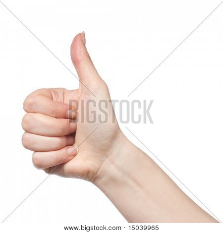 gesturing hand OK isolated on white