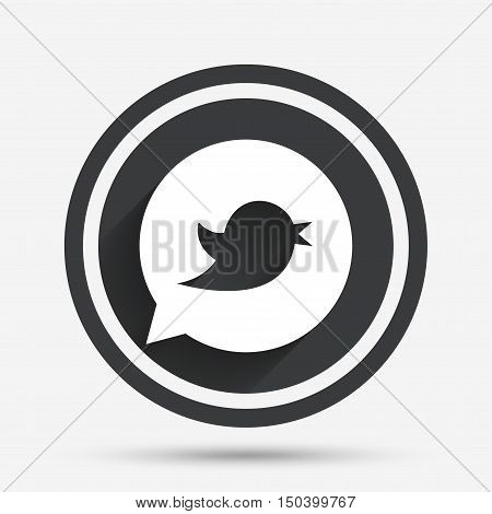Bird icon. Social media sign. Short messages symbol. Speech bubble. Circle flat button with shadow and border. Vector