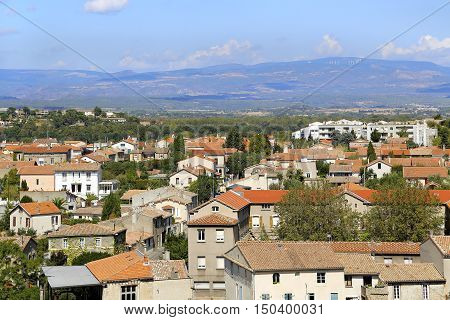 Carcassonne lower town panorama Region of Occitania France