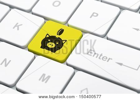 Money concept: computer keyboard with Money Box With Coin icon on enter button background, selected focus, 3D rendering