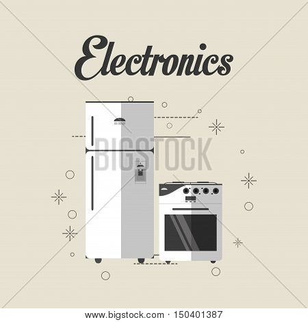 fridge and oven stove home electronic appliances image vector illustration