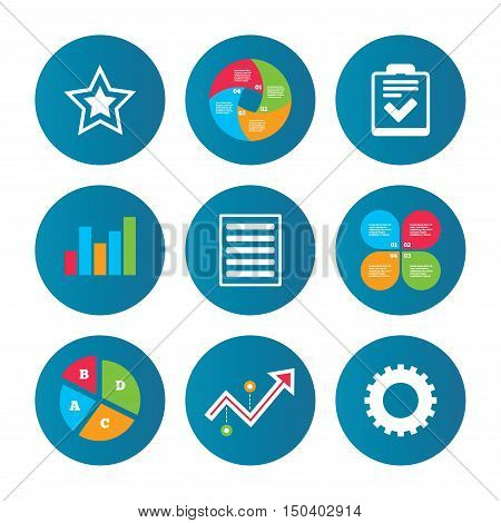 Business pie chart. Growth curve. Presentation buttons. Star favorite and menu list icons. Checklist and cogwheel gear sign symbols. Data analysis. Vector