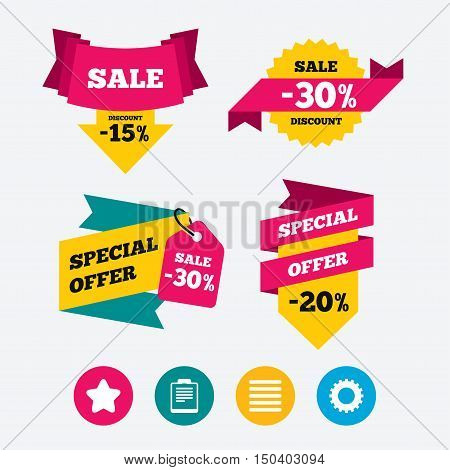 Star favorite and menu list icons. Checklist and cogwheel gear sign symbols. Web stickers, banners and labels. Sale discount tags. Special offer signs. Vector