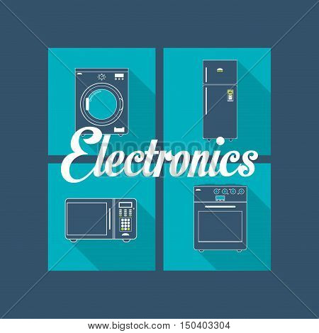 washing machine fridge oven stove and microwave home electronic appliances image vector illustration