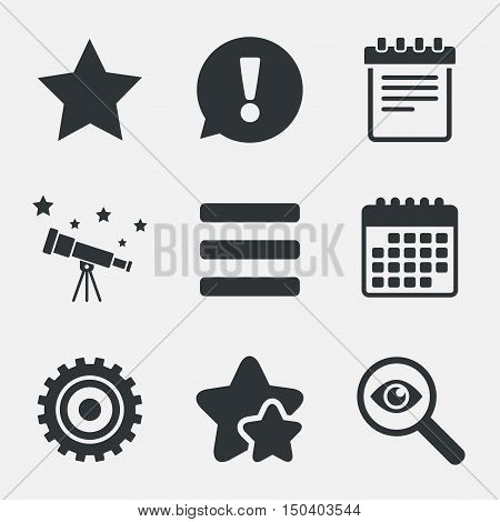 Star favorite and menu list icons. Notepad and cogwheel gear sign symbols. Attention, investigate and stars icons. Telescope and calendar signs. Vector