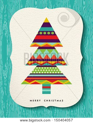 Merry Christmas Pine Tree Design In Fun Colors