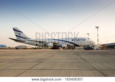 Boeing 747 (4X-ela) — El Al Israel Airlines Airplane In Ben-gurion Airport. Israel