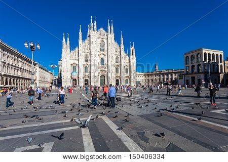MILANO, ITALY - September 06, 2016: View on the Piazza del Duomo and the Duomo cathedral in Milan.