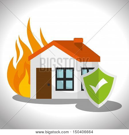 house property with fire flames and security shield checked. home insurance theme. colorful design vector illustration