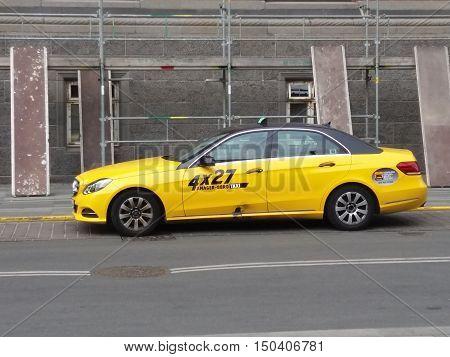 Yellow Taxi Car In Copenhagen