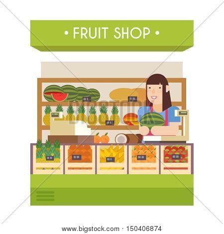 Fruit shop. Vector flat illustration. Girl seller