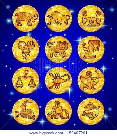 Set gold foil circles with zodiac symbols on blue starry background. Contains the Clipping Path