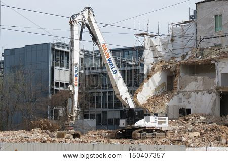 LEIPZIG GERMANY - CIRCA MARCH 2016: demolition of an old building