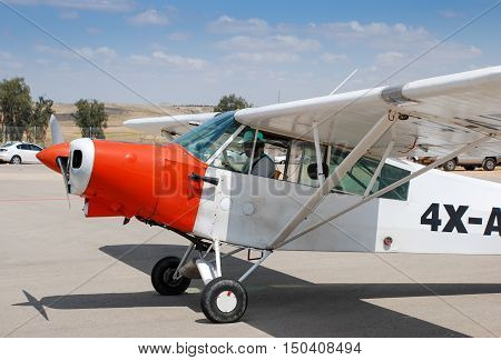The Piper Pa-18-150 Super Cub Aiplane In Sde-teyman Airport. Beer-sheva. Israel