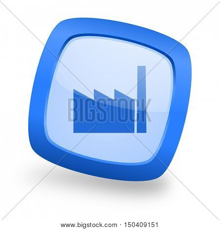 factory blue glossy web design icon