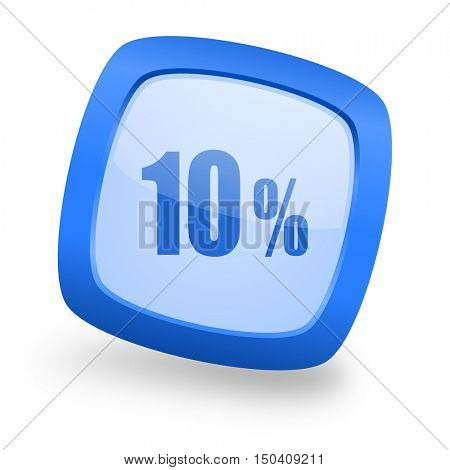 10 percent blue glossy web design icon