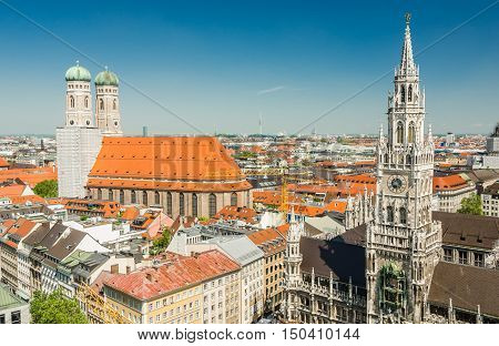 Panoramic view of the Marienplatz is a central square in the city centre of Munich, Germany.