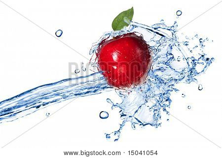 Red apple with leaf and water splash isolated on white