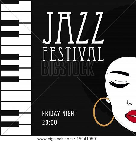Jazz music poster background template. Piano keyboard illustration. Creative vintage poster. Vector retro style template. Front view portrait of a black woman face