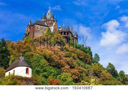 impressive  Reichsburg castle in medieval Cochem. Germany, Rhine river
