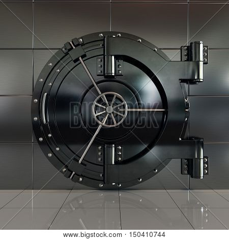 3d rendering of closed front view bank vault door. Safety and secure business concept
