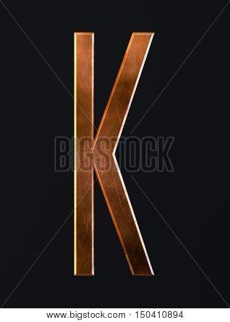 Golden Scratch Alphabet Letter Symbol K