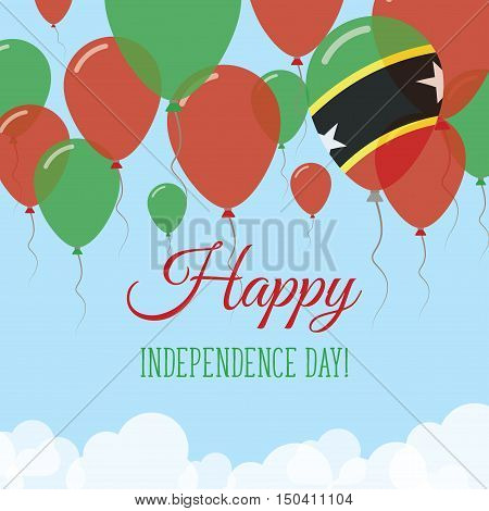Saint Kitts And Nevis Independence Day Flat Greeting Card. Flying Rubber Balloons In Colors Of The K