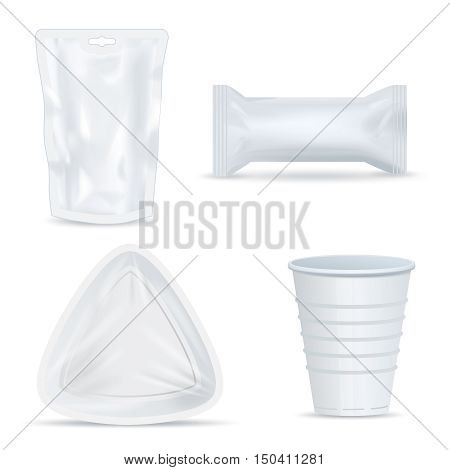 Set of four isolated clear white plastic food packages of different shape for snacks drinks bubblegum disposable cup with shadows vector illustration