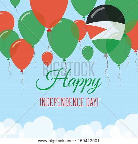 Palestine, State Of Independence Day Flat Greeting Card. Flying Rubber Balloons In Colors Of The Pal