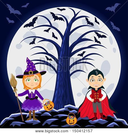 Happy Halloween. Children in halloween costumes. Vampire Dracula and witch