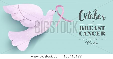 Breast cancer awareness design with dove bird carrying pink ribbon and support quote for social media header. EPS10 vector