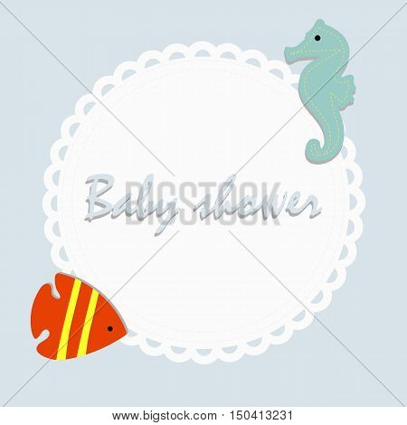 children's round frame on a blue background with cute sea creatures. Seahorse and fish. Template for greetings or page for a scrapbook album. Baby vector illustration. Baby shower or arrival