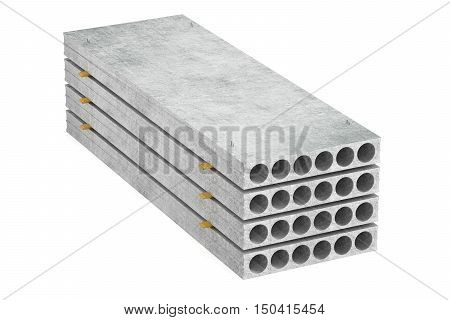 stack of concrete slab 3D rendering isolated on white background