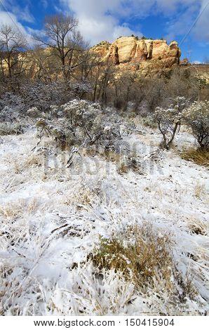 Indian Creek winter view, near Canyonlands in Utah, Usa.