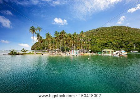 Marigot Bay Saint Lucia Caribbean. Marigot Bay is located on the west coast of the Caribbean island of St Lucia.