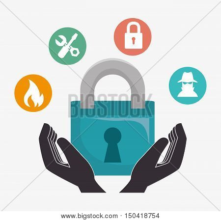 protective hands with padlock. security insurance service. vector illustration