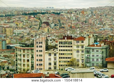 view of the city and interesting houses. Amazing urban landscape from aerial view.