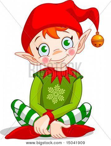 Christmas Elf sitting - Vector.