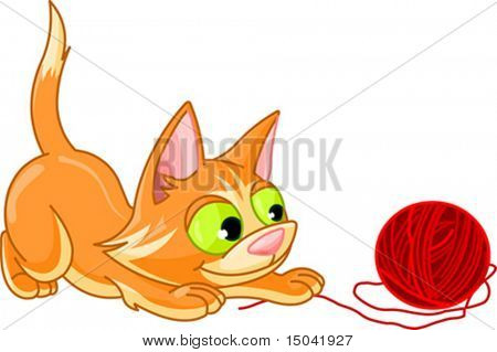 A small kitten playing with ball of red yarn on a white background. Vector illustration