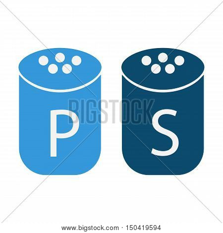 Salt and pepper flat icon. Illustration for web and mobile.