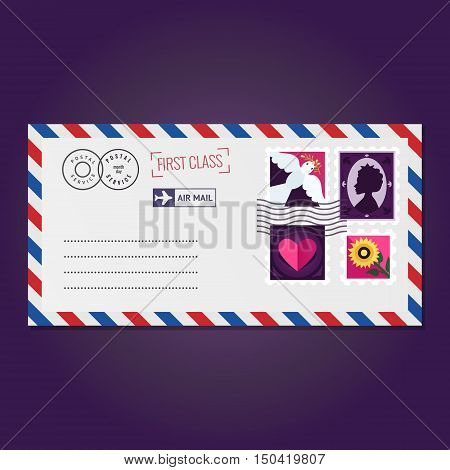 Envelope with stamps (dove silhouette heart and flower) vector.
