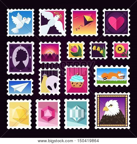 Colorful postage (mail) stamps cartoon vector set on the dark background.