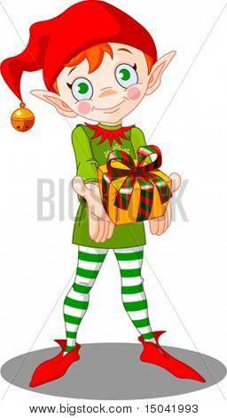 Cute Christmas elf giving gift