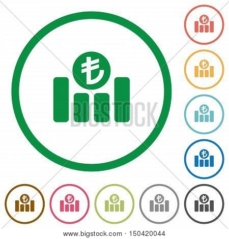 Set of turkish Lira graph color round outlined flat icons on white background