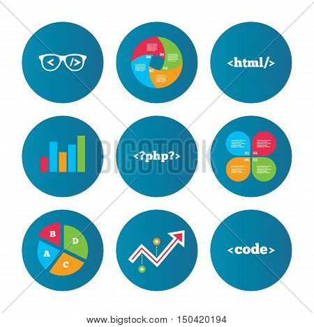 Business pie chart. Growth curve. Presentation buttons. Programmer coder glasses icon. HTML markup language and PHP programming language sign symbols. Data analysis. Vector
