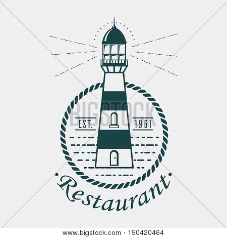 Vintage lighthouse logo rounded by rope or sling. Old banner of navigation beacon or searchlight for sailors and maritime pilots looking for harbor. Great nautical and sea, ocean and seashore theme